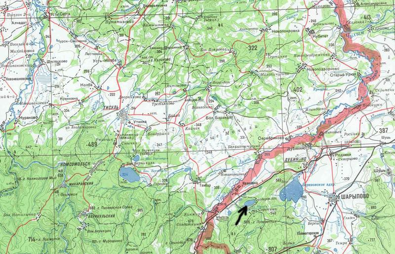 Озеро на карте Красноярского
