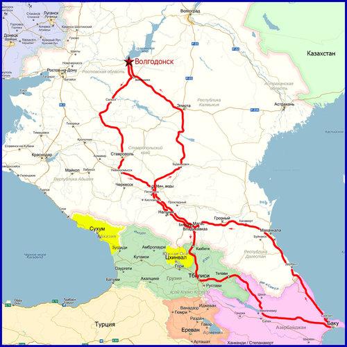 Карта маршрута (политическая).