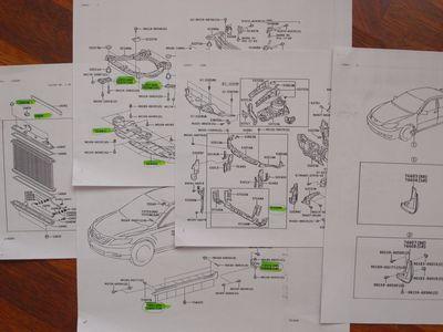 Распечатка из электронного каталона запчастей для Toyota Camry. Маркером помечены требующие замены или регулировки детали.