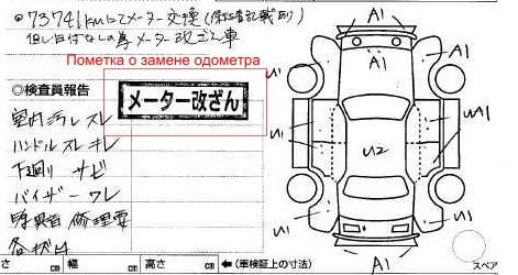 Так выглядит пометка, которая ставится в аукционном листе при обнаружении замены одометра.