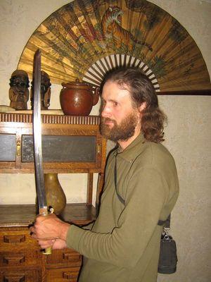 С самурайским мечом. Перегоны - это те же самураи.