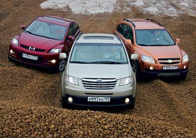 Сравнительный тест Chevrolet Captiva, Mazda CX-7 и Subaru Tribeca.