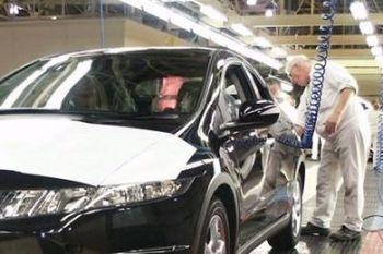 Сборка автомобилей Honda Civic на английском заводе компании Honda.