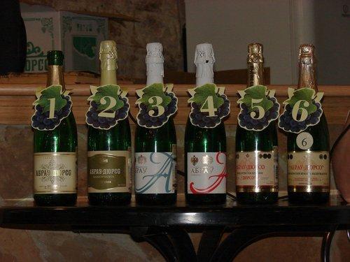 Шесть видов шампанского, выпускаемых на заводе.