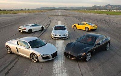 Maserati GranTurismo, Audi R8, Ferrari F430, Lamborghini LP560-4, Mercedes McLaren SLR