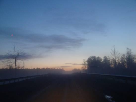 Туман по пути в Сковородино.