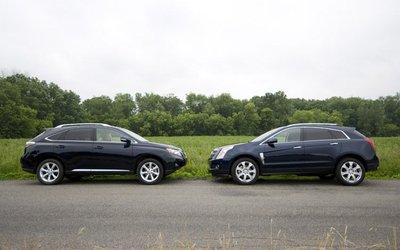 Cadillac SRX и Lexus RX 350. Вид сбоку