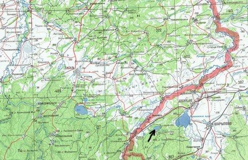Озеро на карте Красноярского края.