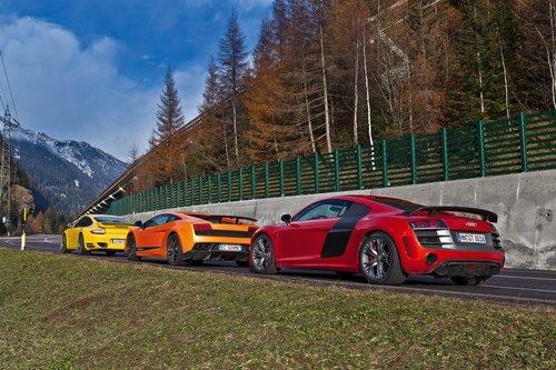 Audi R8 GT, Lamborghini Gallardo LP570-4 Superleggera и Porsche 911 Turbo S.