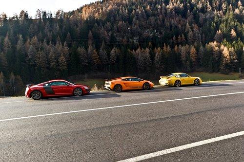 Audi R8 GT, Lamborghini Gallardo LP570-4 Superleggera и Porsche 911 Turbo S