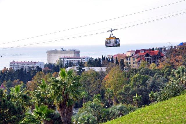 Вид из парка Дендрарий на центральную часть Сочи