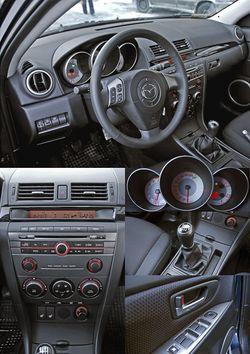 Интерьер Mazda3 — спортивный стиль и относительно дешёвая отделка.