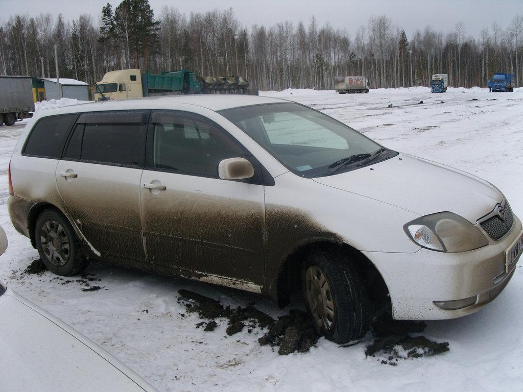 Перегон филдера из Красноярска в Братск. Погода была околонулевая... Все, что таяло на асфальте, мгновенно намерзало на автомобиль