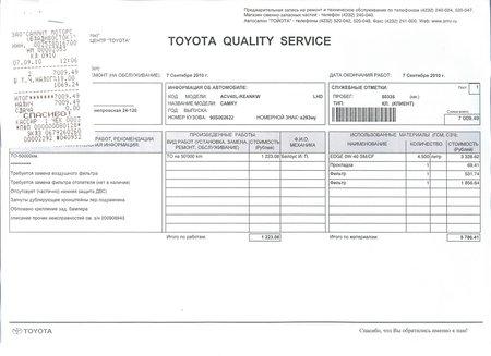 ТО 50 000, отчет о выполненных работах и стоимость услуг