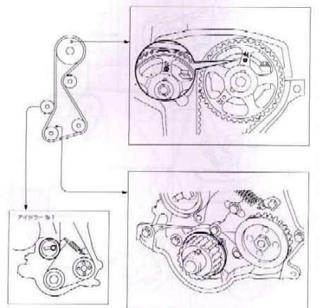 схема замены ремня ГРМ на двигателе Toyota 4E-F