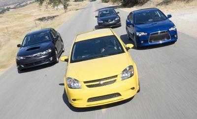 Обзор класса спорт-компакт: Mitsubishi Lancer Ralliart, Mazdaspeed3, Subaru Impreza WRX и Chevrolet Cobalt SS.
