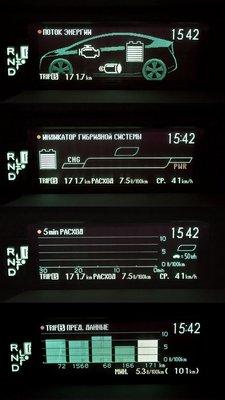 На дисплей Приуса можно вывести одну из четырех картинок, позволяющих экономить топливо.