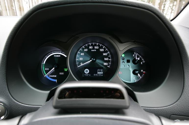 На приборной доске автомобиля GS 450h на месте тахометра располагается  индикатор работы системы смешанной тяги.  Когда водитель давит на педаль акселератора, стрелка индикатора перемещается к отметке Power, если движение идет в режиме максимальной экономии топлива, прибор показывает Eco. Если, наконец, имеет место регенеративное торможение, тогда стрелка указывает на отметку Charger.